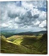 Stunning Large Panorama Landscape Of Brecon Beacons View From Pe Canvas Print