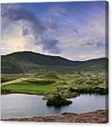 Stunning Sunrise Panorama Landscape Of Heather With Mountain Lak Canvas Print