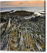 Stunning Vibrant Rock Formation Against Ocean And Beautiful Suns Canvas Print