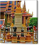 Stupa Surrounded By Elephants At Grand Palace Of Thailand In Ban Canvas Print