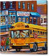 St.viateur Bagel And School Bus Montreal Urban City Scene Canvas Print