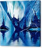 Subterranean Castles Wax Painting In Blue Canvas Print