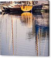 Subtle Colored Marina Reflections Canvas Print