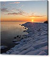 Subtle Pinks And Golds And Violets In A Bright Sunrise Canvas Print