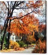 Suburban Street In Autumn Canvas Print