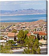 Suburbs And Lake Mead With Surrounding Canvas Print