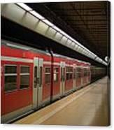 Subway Train At Platform Canvas Print