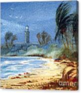Sudden Storm Faro De Punta Tuna Canvas Print