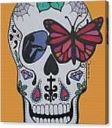 Sugar Candy Skull Orange Canvas Print