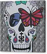 Sugar Candy Skull Zebra Canvas Print