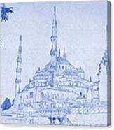 Sultan Ahmed Mosque Istanbul Blueprint Canvas Print
