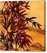 Sumi-e Red Bamboo Canvas Print