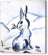 Sumi-e Snow Bunny Canvas Print