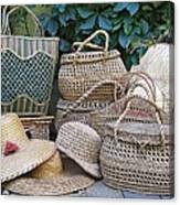 Summer Baskets And Hats Canvas Print