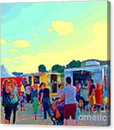 Summer Family Fun Paintings Of Food Truck Art Roadside Eateries Dad Mom And Little Boy Cspandau Canvas Print