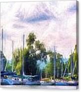 Summer Morning At Johnson's Boatyard Canvas Print