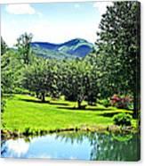 Summer Pond And The Blueridge Canvas Print