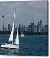 Summer Sailing Postcard From Toronto Canvas Print