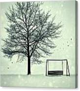 Summer Swing Abandoned In Snow Beside Tree Canvas Print