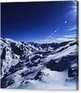 Summit Of The Italian Alps In Winter Canvas Print