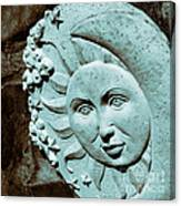 Sun And Crescent Moon Duotone Sculpture Canvas Print