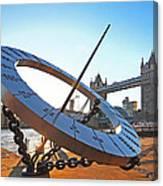 Sun Dial And Tower Bridge London Canvas Print