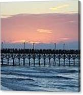 Sun Over Crowed Pier Canvas Print