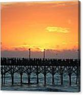Sun In Clouds Over Pier Canvas Print