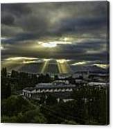 Sun Rays Over The City Canvas Print