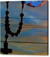 Sun Rise With Cross Canvas Print