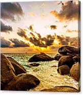 Sun Sand Sea And Rocks Canvas Print