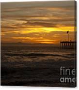 Sun Setting Behind Santa Cruz With Ventura Pier 01-10-2010 Canvas Print
