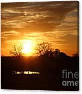 Sun Setting Over The Pond Canvas Print