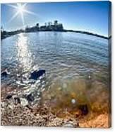 Sun Shining Over Lake Wylie In North Carolina Canvas Print