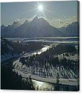 1m9313-sunburst Over Grand Teton, Wy Canvas Print