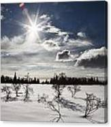 Sunburst With Snow Canvas Print