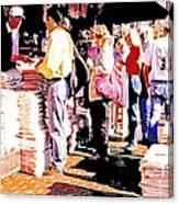 Sunday Morning Paper Sidewalk Newsstand Digitl Art Canvas Print