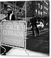 sunday morning roads closed for cyclists and walkers Santiago Chile Canvas Print