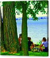 Sunday Picnic On The Lake Maple Trees At The Canal Pte Claire Montreal Waterscene Carole Spandau Canvas Print
