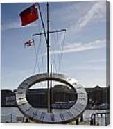 Sundial St Katherines Dock Canvas Print
