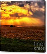 Sundown On The Working Farmer Canvas Print