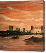Sundown Over Tower Bridge London Canvas Print