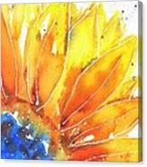 Sunflower Blue Orange And Yellow Canvas Print
