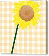 Sunflower On Yellow Plaid Canvas Print
