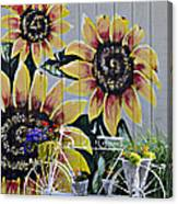 Sunflowers And Bicycle Canvas Print
