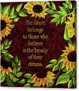 Sunflowers And Future Poem Canvas Print