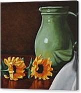Sunflowers And Green Water Jug Canvas Print