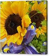 Sunflowers And Iris Canvas Print