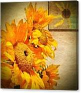 Sunflowers And The Sun Canvas Print