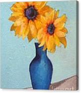 Sunflowers In A Blue Vase Canvas Print